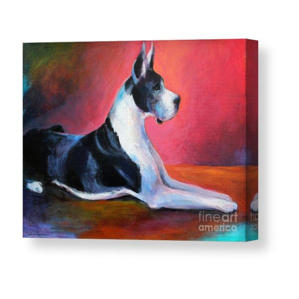 Great Dane Painting Svetlana Novikova Canvas Print In 2019