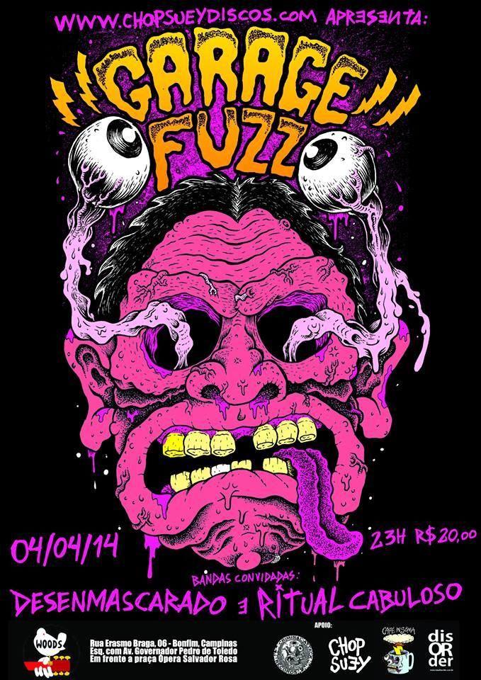 Garage Fuzz Show Concert Rock Band Poster Cartaz Art Design Rock Band Posters Punk Poster Horror Posters