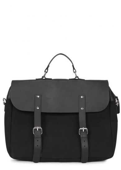 Black canvas and leather briefcase - Backpacks - Bags - All Accessories - Men