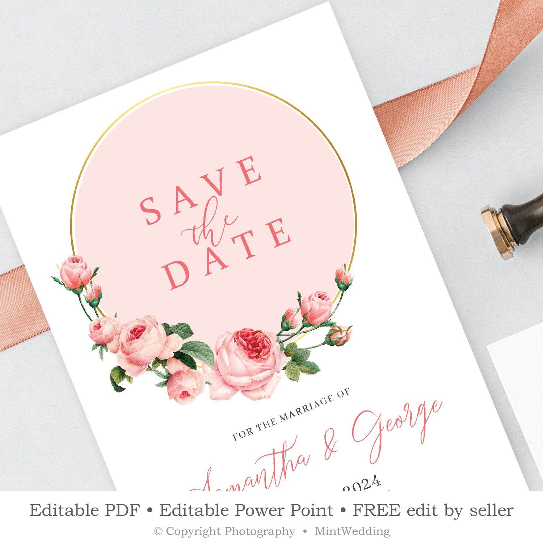 boho save the date invitation template  editable blush