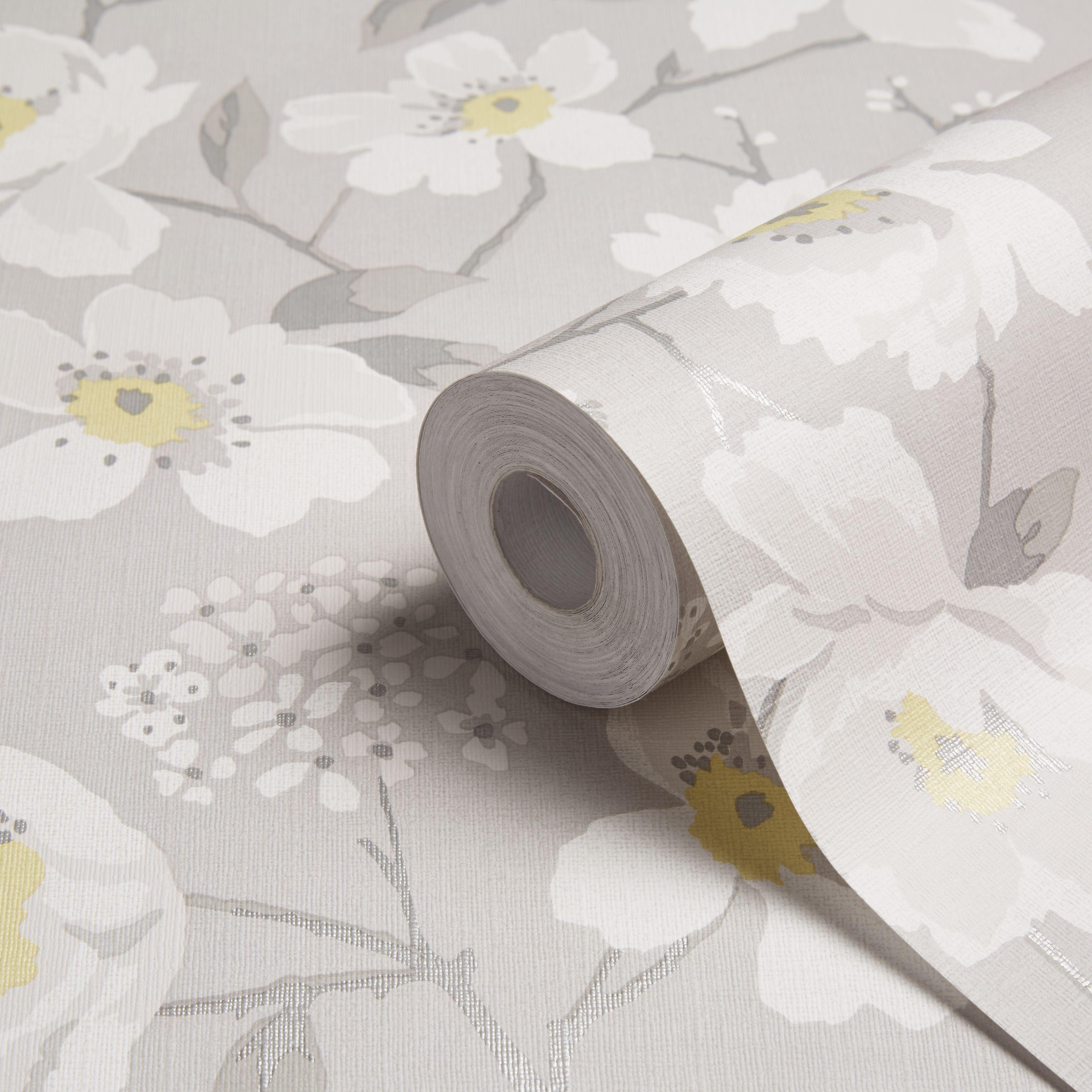 Colours Mandalyn Grey Floral Wallpaper Grey Floral Wallpaper