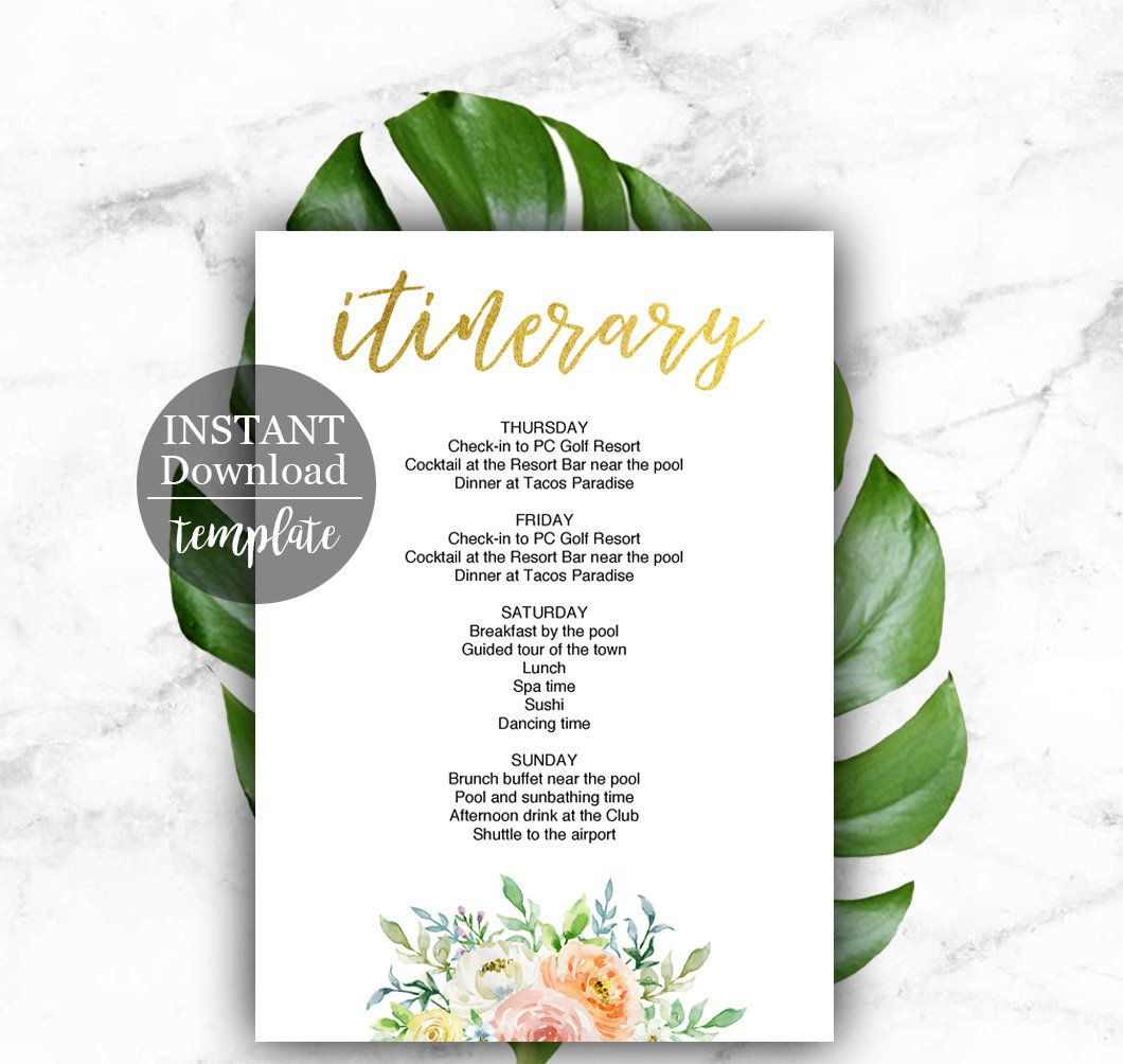 Weekend Itinerary Template For Bachelorette Party Birthday Or Wedding Itinerary Printable Gold And Floral Elegant Pdf File Fgg Itinerary Template Itinerary Printable Hen Party