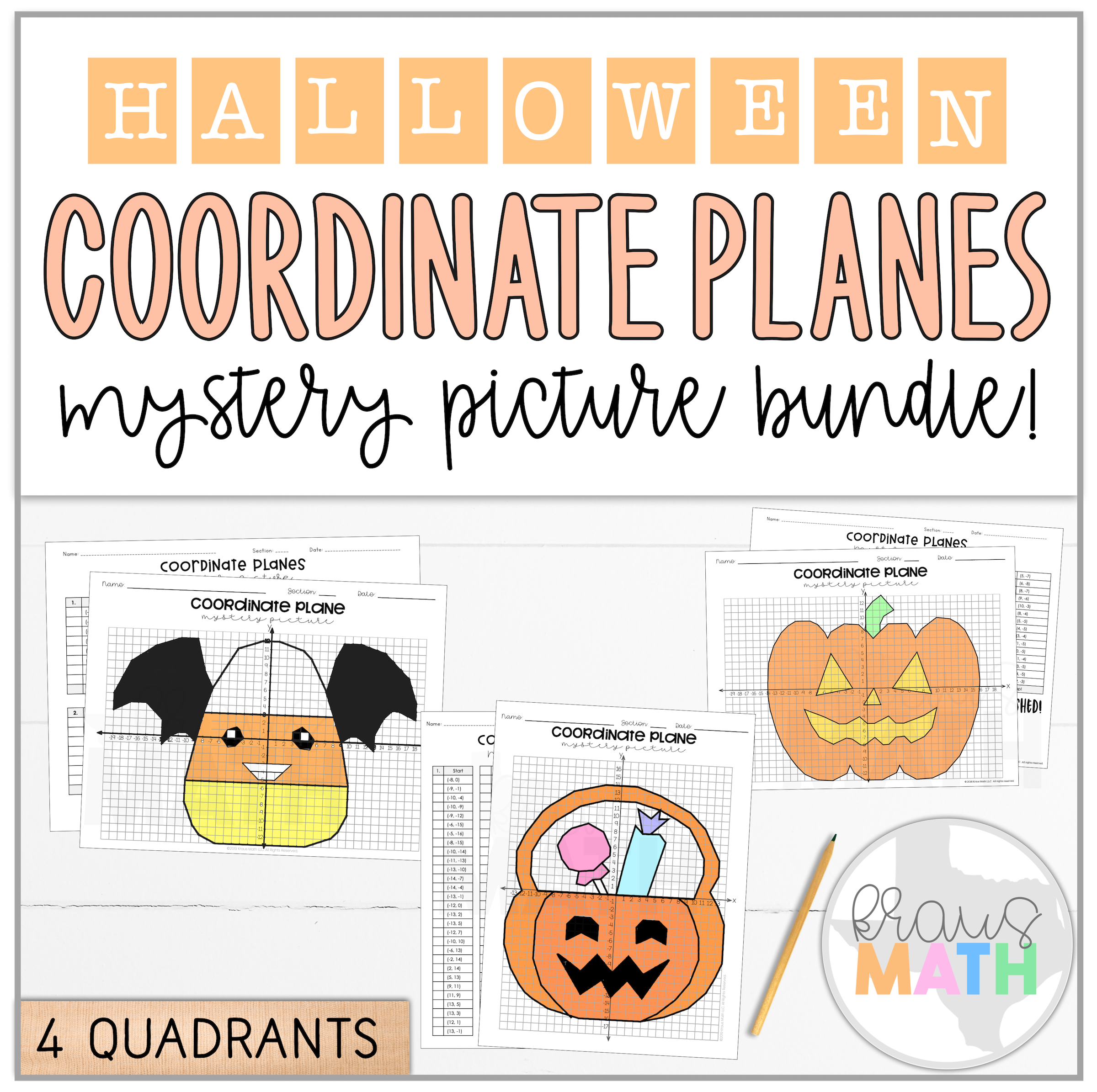 Halloween Coordinate Plane Mystery Picture Bundle 4