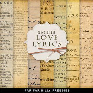 Far Far Hill Freebies Vintage Paper Kit Love Lyrics Digital Paper Freebie Free Digital Scrapbooking Printable Scrapbook Paper