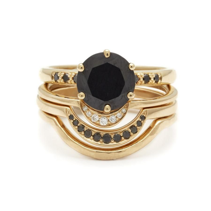 Hazeline black diamond engagement ring in k yellow gold unique