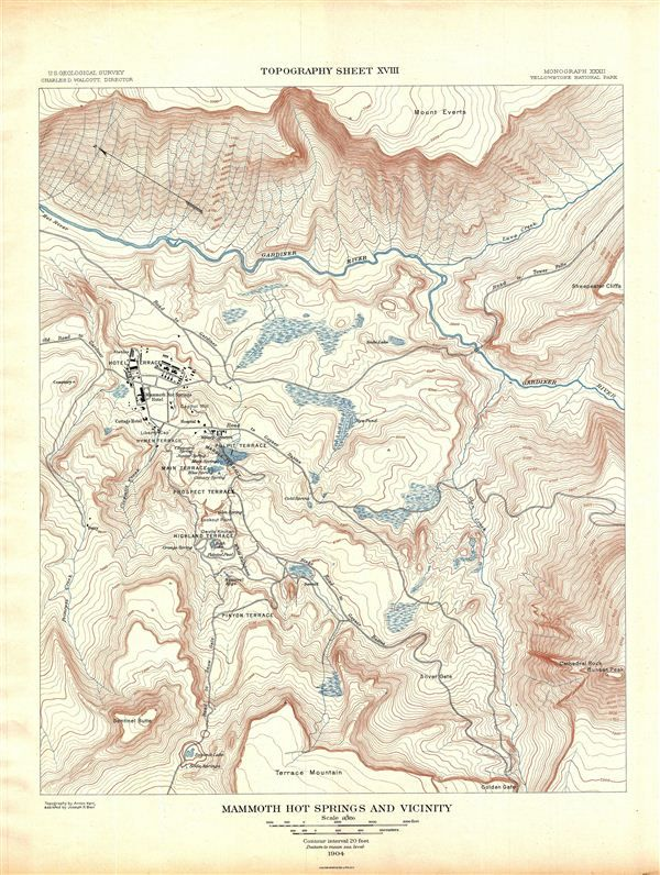 Yellowstone National Park Topographic Map.1904 Usgs Topographic Map Of Mammoth Springs Yellowstone National