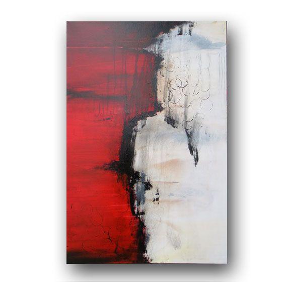 Betere Rood schilderij origineel Abstract schilderij zwart en wit WF-56