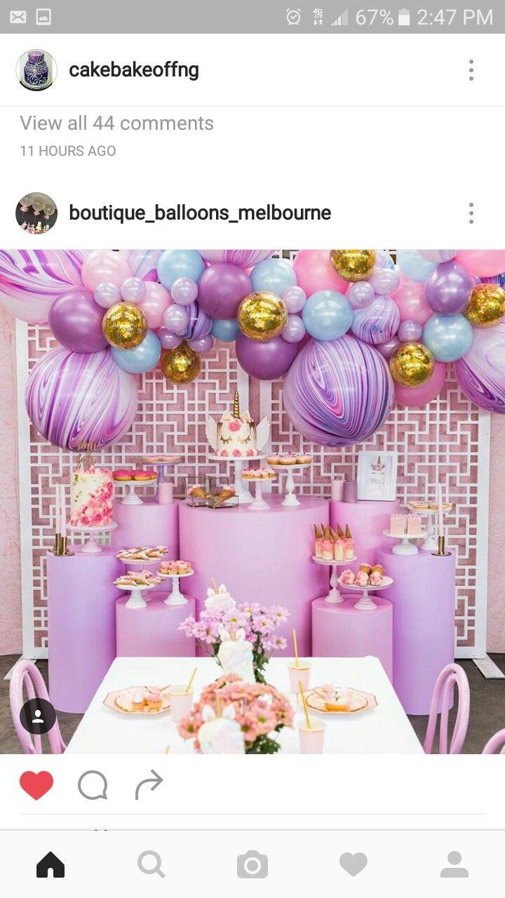 Unicorn Balloon 3D Wings Wand Baby Birthday Party Gift Blue Purple Girls Boys