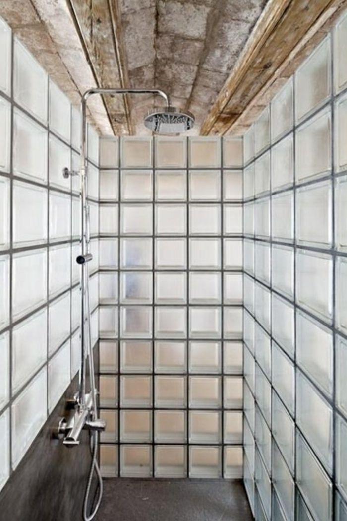 Mettons Des Briques De Verre Dans La Salle De Bains Salle De Bains Brique Douche Carreaux De Verre Paroi Douche Verre