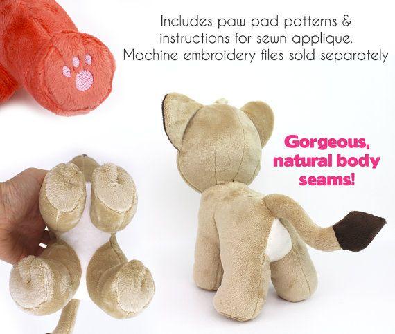PDF sewing pattern - Lion Cub stuffed animal - chibi cat feline ...
