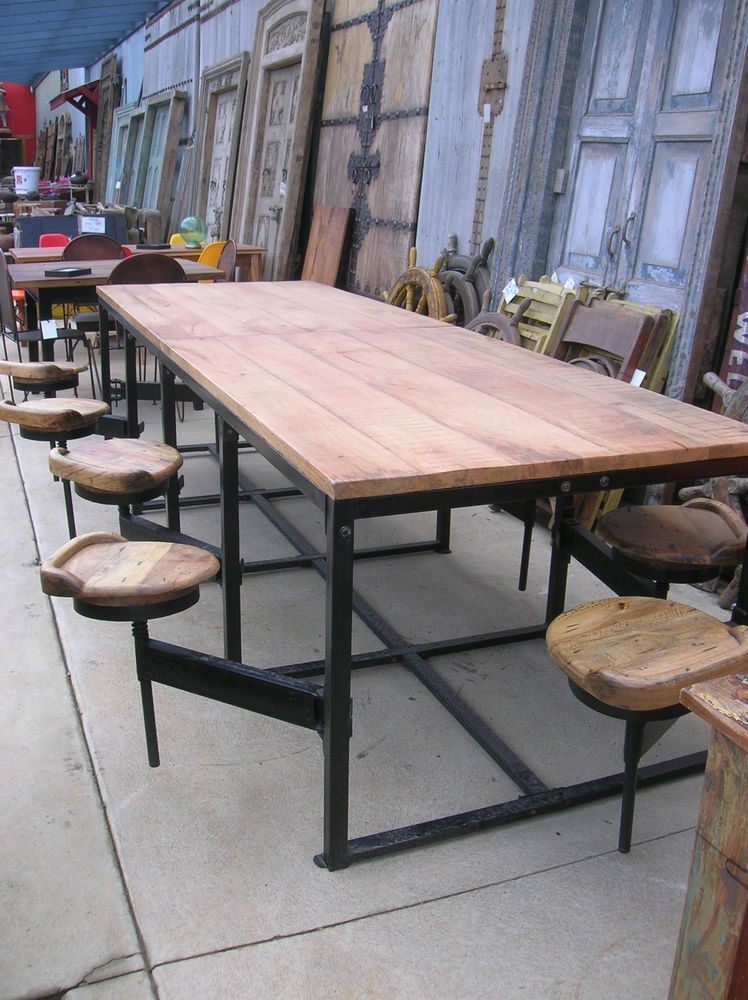 ON SALE -14 Seat Mango Wood Canteen Table with Attached Swivel Chairs - 3  Sizes