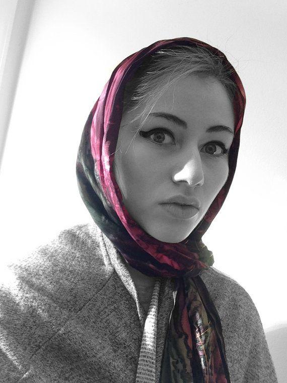 Items similar to Vintage 1970s Scarf Headscarf or Wrap ~ Mid-century Mod Babushka Headscarf, 70s Glamour on Etsy
