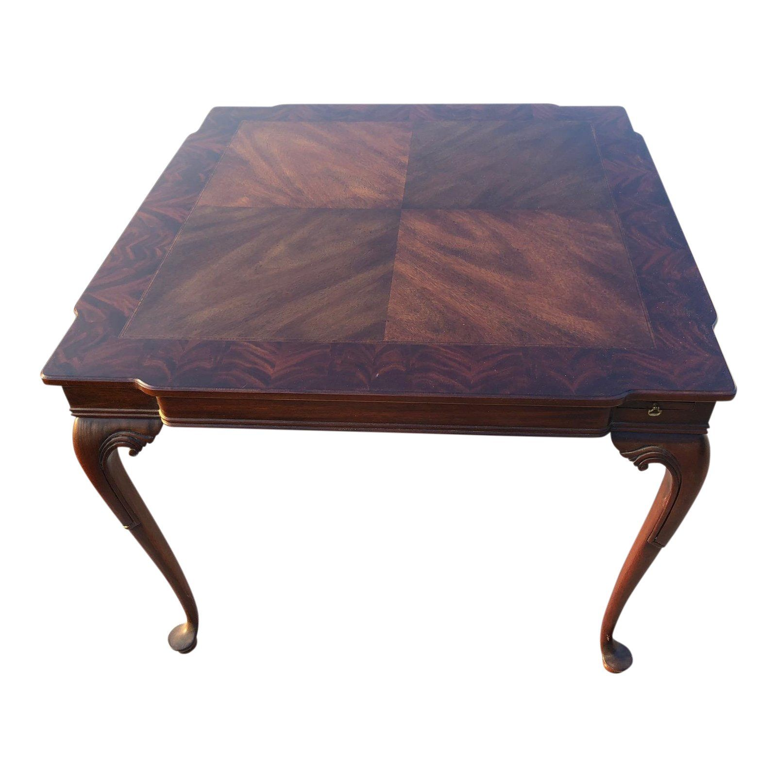 1960s Louis XV Solid Wood Antique Inlay Card/Gaming Table For Sale