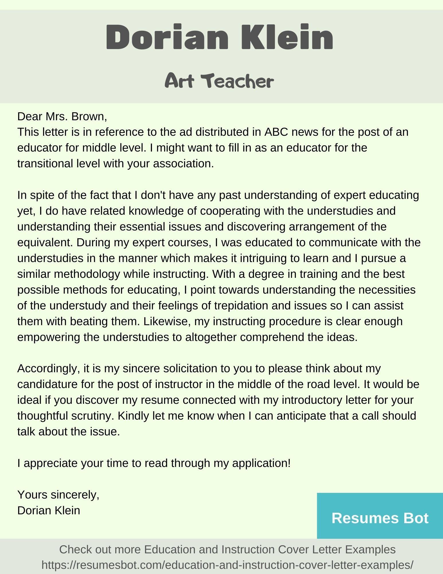 Teacher cover letter example Cover letter example