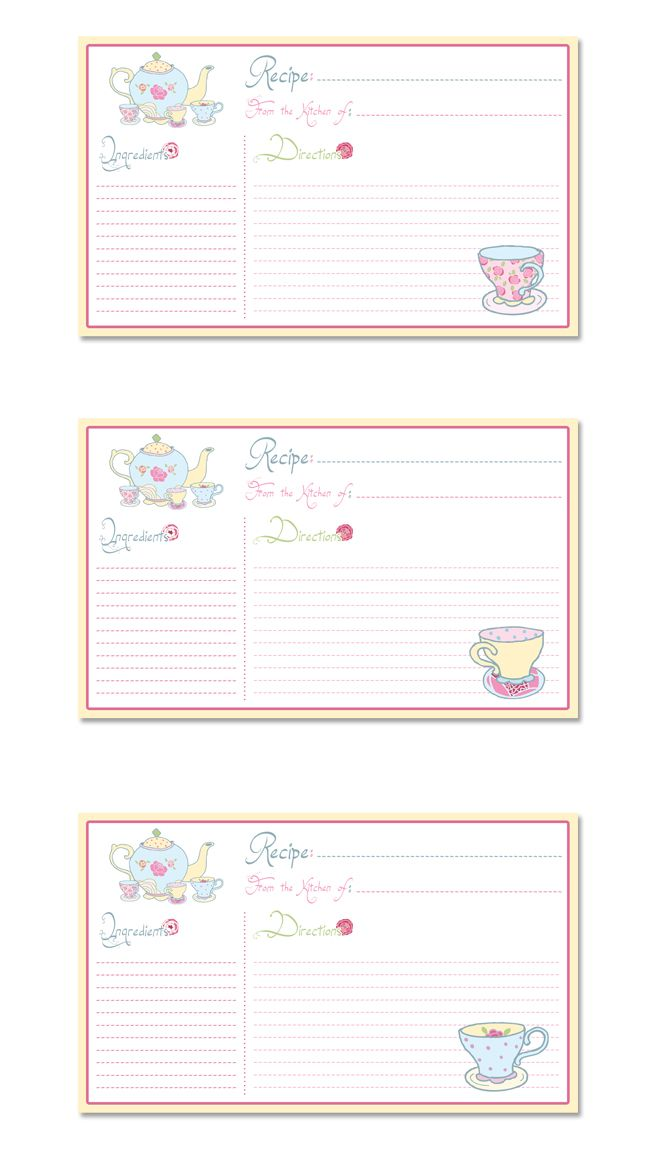Time For Tea Printable Recipe Cards especially for you Recipe - printable time card template