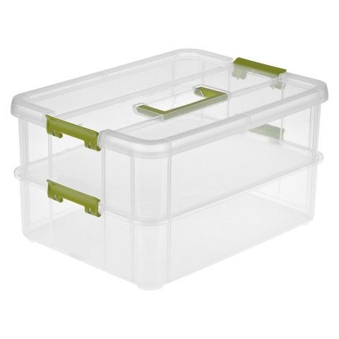 This Is The Best For Storing Nail Polish Sterilite Stack Carry Tray Organizer Storage Tote 2 Pc Transparent With Jade Green Lat Plastic Box Storage Storage Tubs Plastic Storage