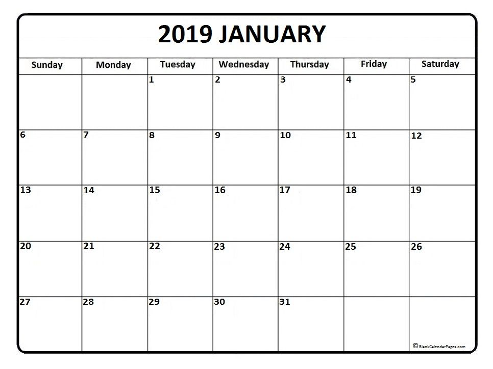 Blank January 2019 Calendar Template January Printable Calendar 2019 | Blank January 2019 Calendar