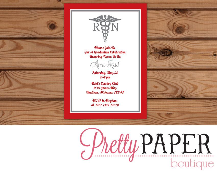 nursing graduation party invitation digtial or printed by prettypaperboutique2 on etsy