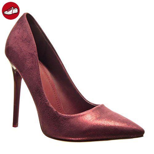 Angkorly Damen Schuhe Pumpe - Stiletto - Sexy - Glänzende Stiletto High Heel 11 cm - Rot L506-1 T 39 kFXJD