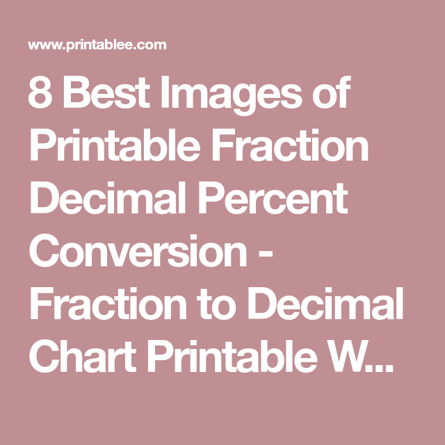 Best Images Of Printable Fraction Decimal Percent Conversion