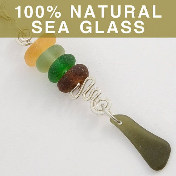 Autumn Sea Glass Pendant Stack by SeaGlassJournal on Etsy, $79.00