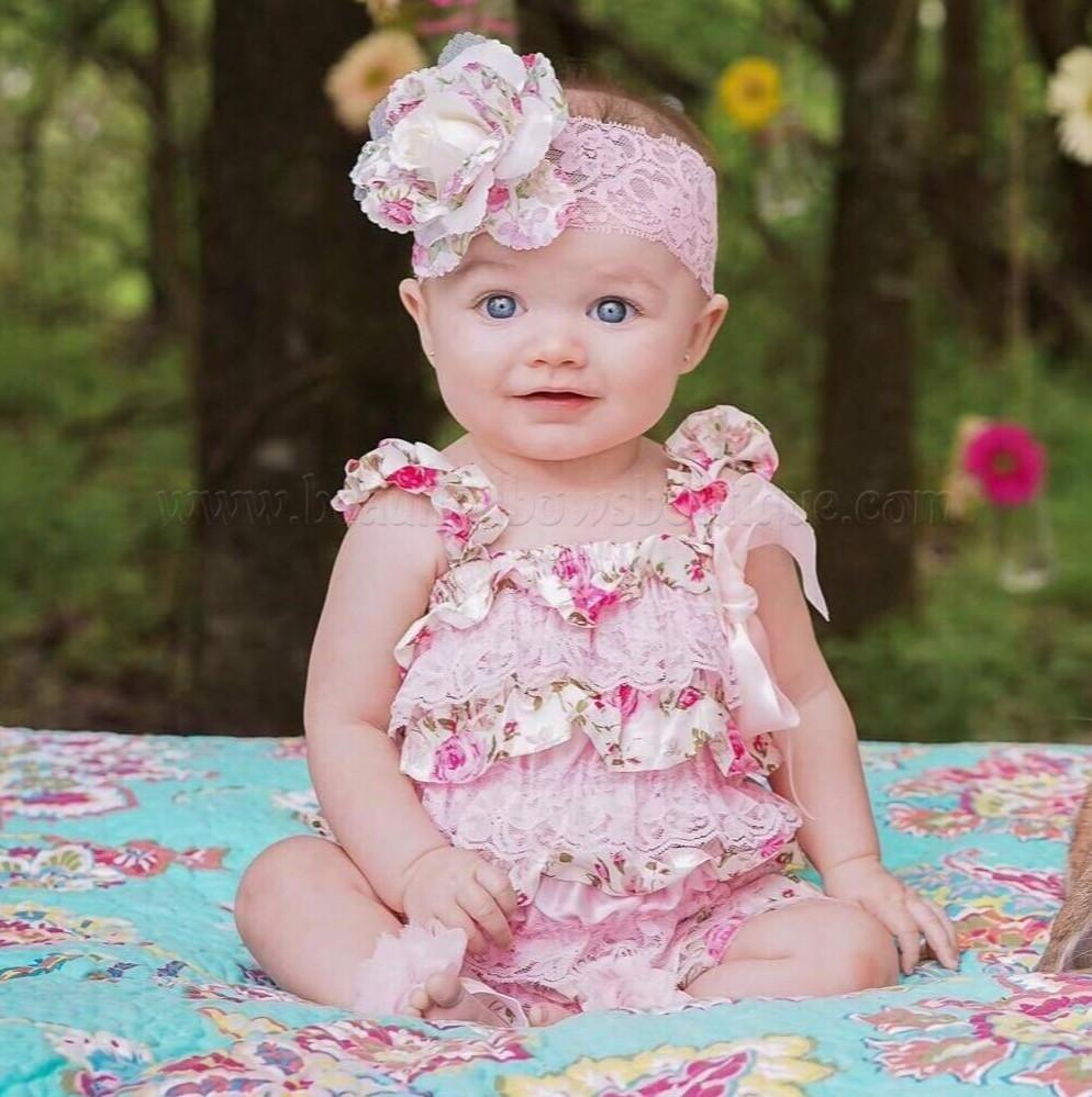 c5ba910fd718 Baby Girl Dusty Ivory Satin Rose Petti Lace Romper Set