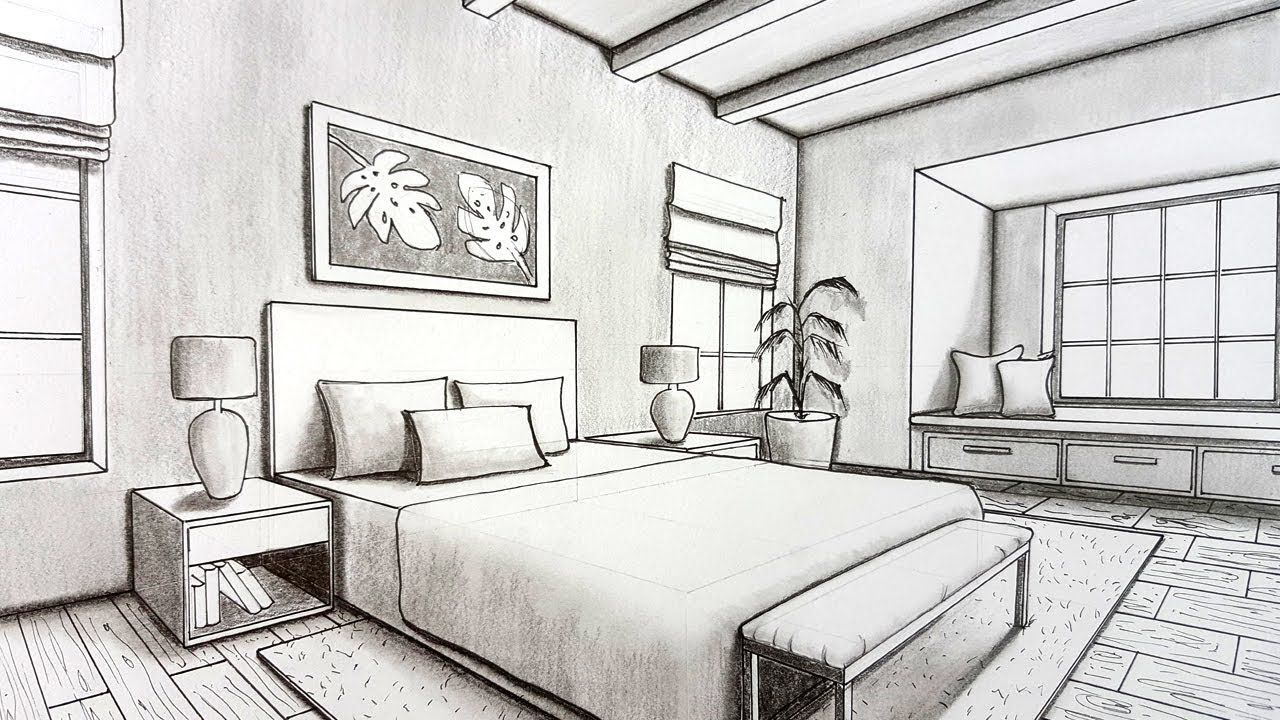 Drawing A Bedroom In Two Point Perspective Timelapse Practice Perspective Room 2 Point Perspective Drawing Perspective Drawing