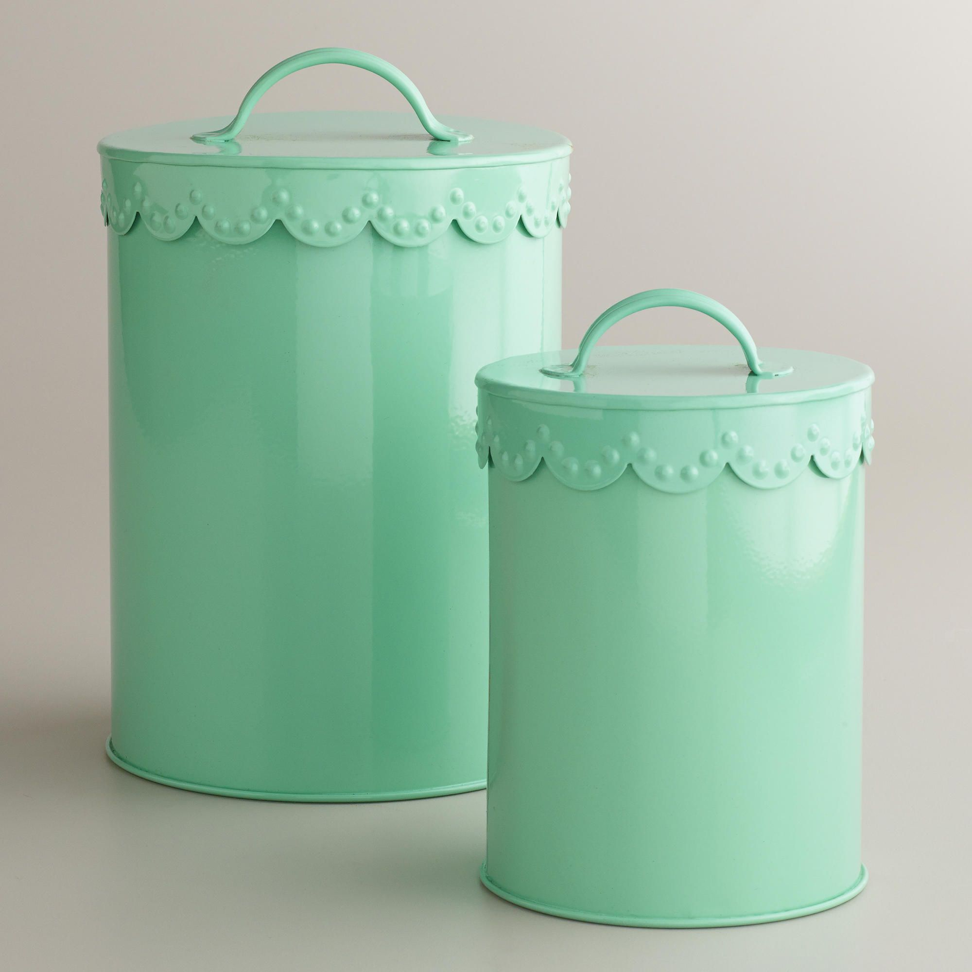 Retro Kitchen Canisters Mint Vintage Scalloped Top Canisters 5 7 World Market