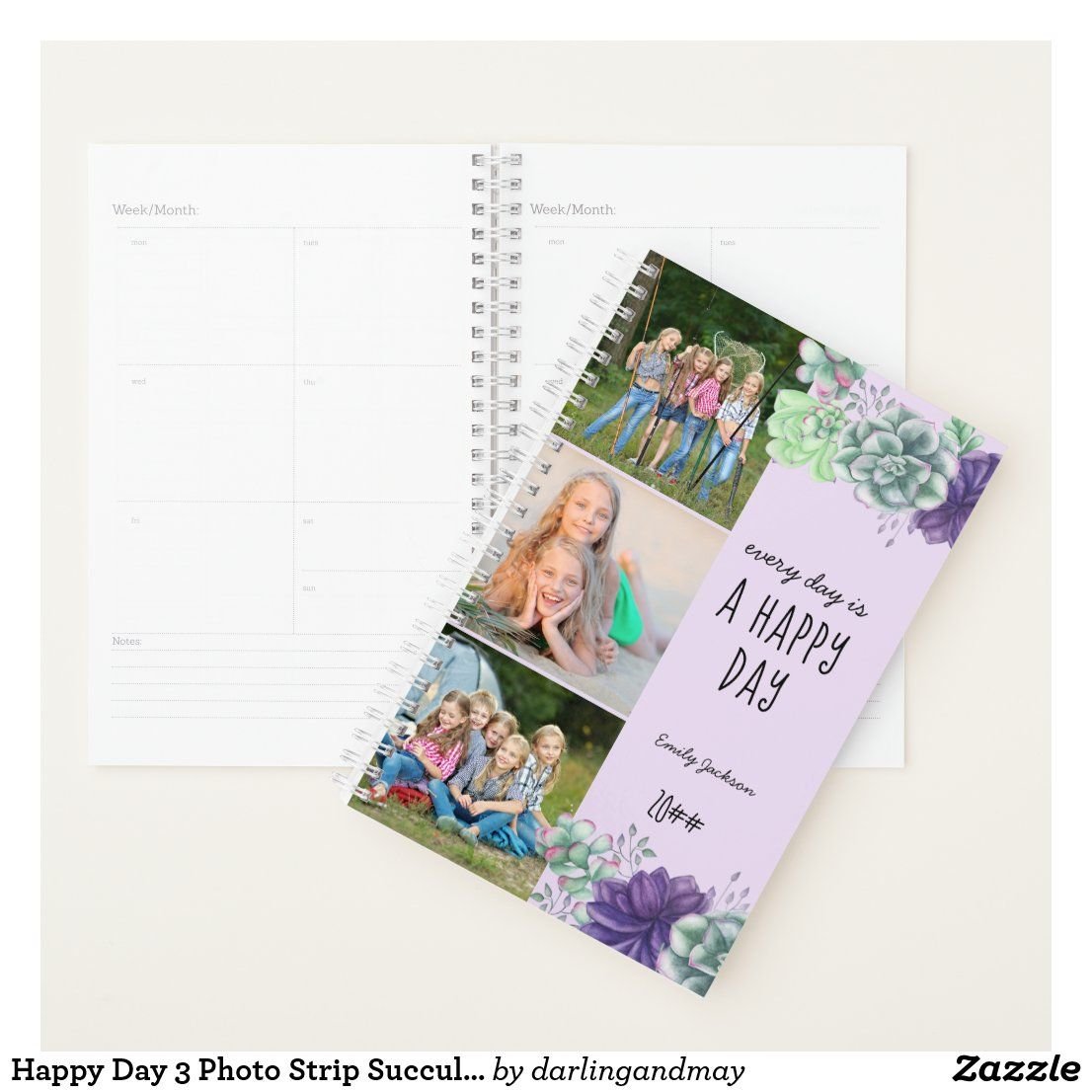 Printed Christmas Cards 2021 With 3 Photos Happy Day 3 Photo Strip Succulents 2021 Planner Zazzle Com Custom Holiday Card Happy Day Planner