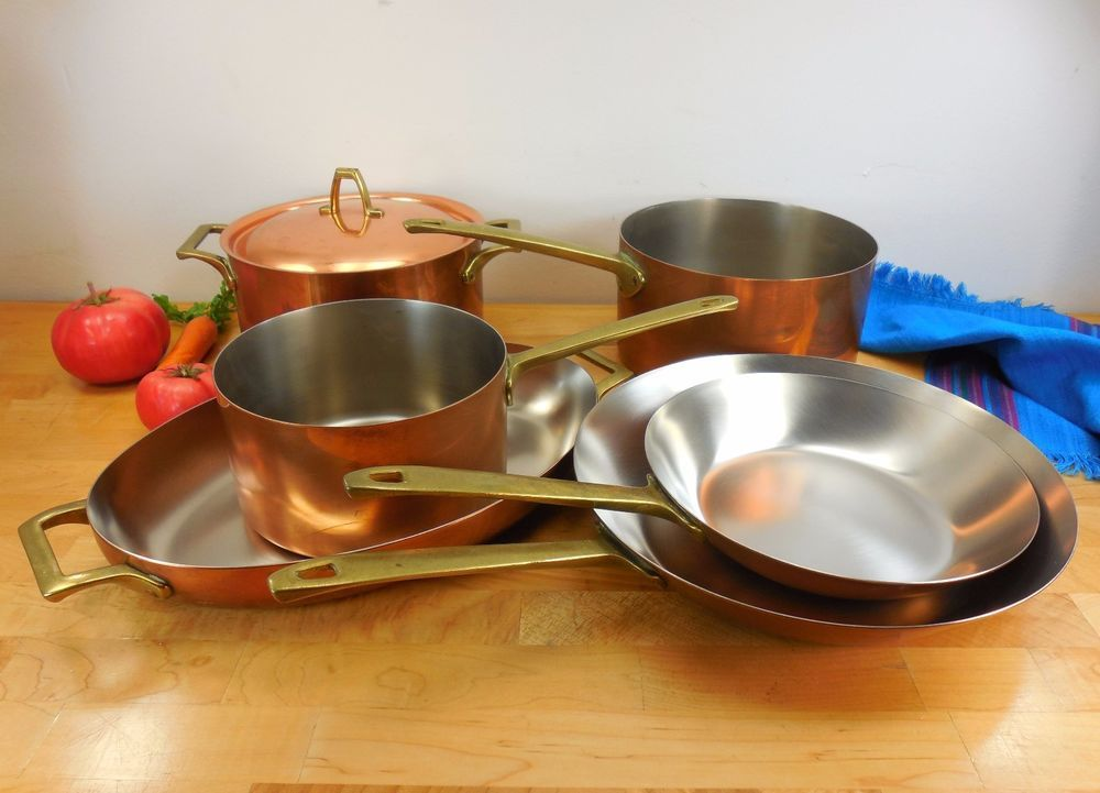 7 Pc Set Unused Paul Revere Ware Limited Ed Copper Stainless Brass Cookware Revere Ware Vintage Cookware Copper Kitchen