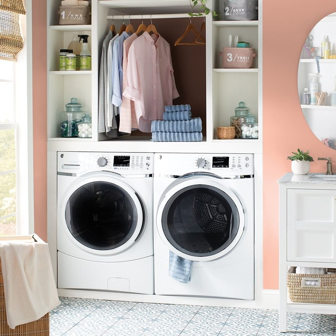 Wayfair On Instagram Pro Tip Use The Extra Bathroom Closet As The Laundry Room A Laundry Room Storage Laundry Room Storage Shelves Laundry Room Organization