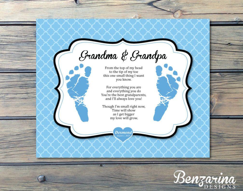 Grandparents Gift Nana Papa, Grandma Grandpa Newborn Footprint Hand ...