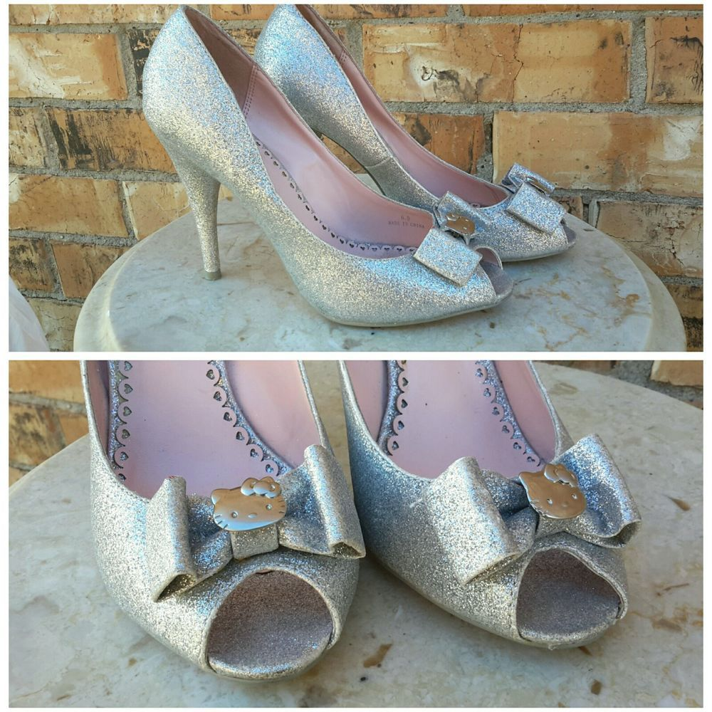Hello Kitty Glitter Silver Pump High Heel Shoes Open-Toe Sexy Girly Girl Pumps  | Clothing, Shoes & Accessories, Women's Shoes, Heels | eBay!