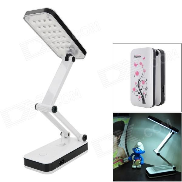 2W 180lm 5000K 24 LED Foldable Rechargeable Table Lamp   White + Pink +  Black