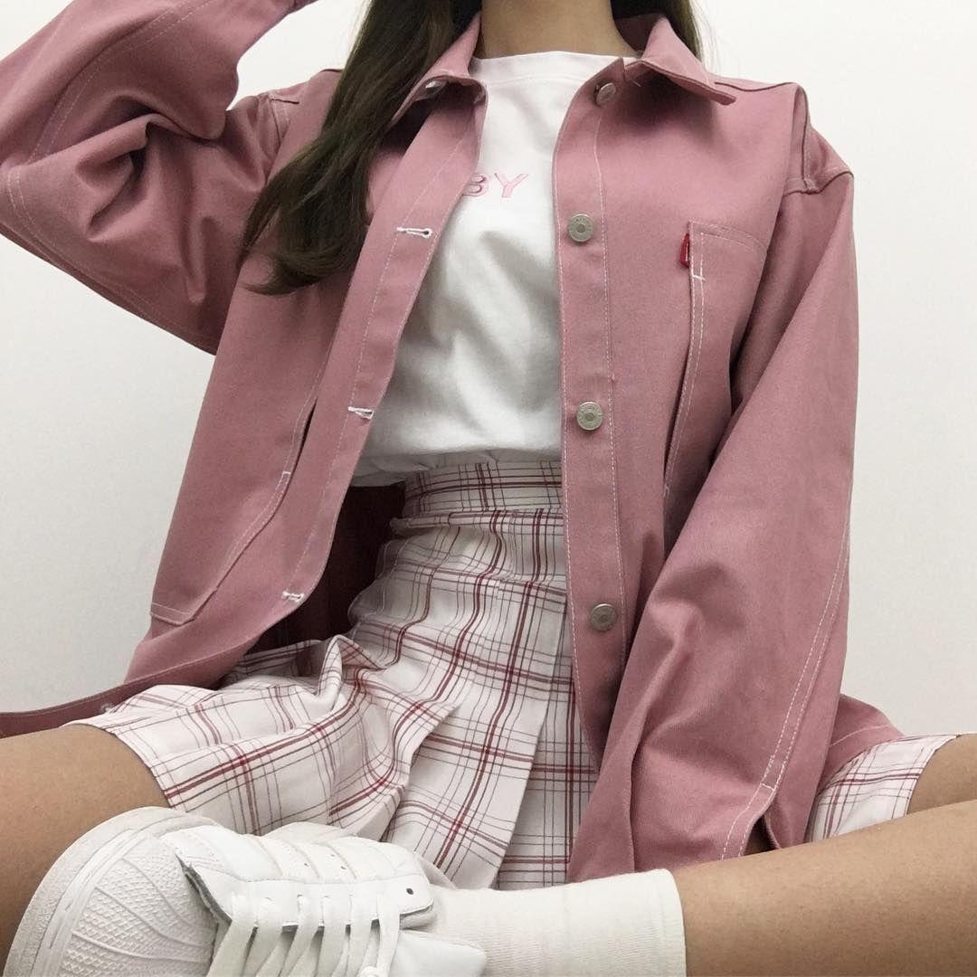 Korean Fashion Casual Street Pink Blush Tennis Skirt White Sneakers Shoes Rain Korean Fashion Korean Fashion Trends Korean Fashion Casual