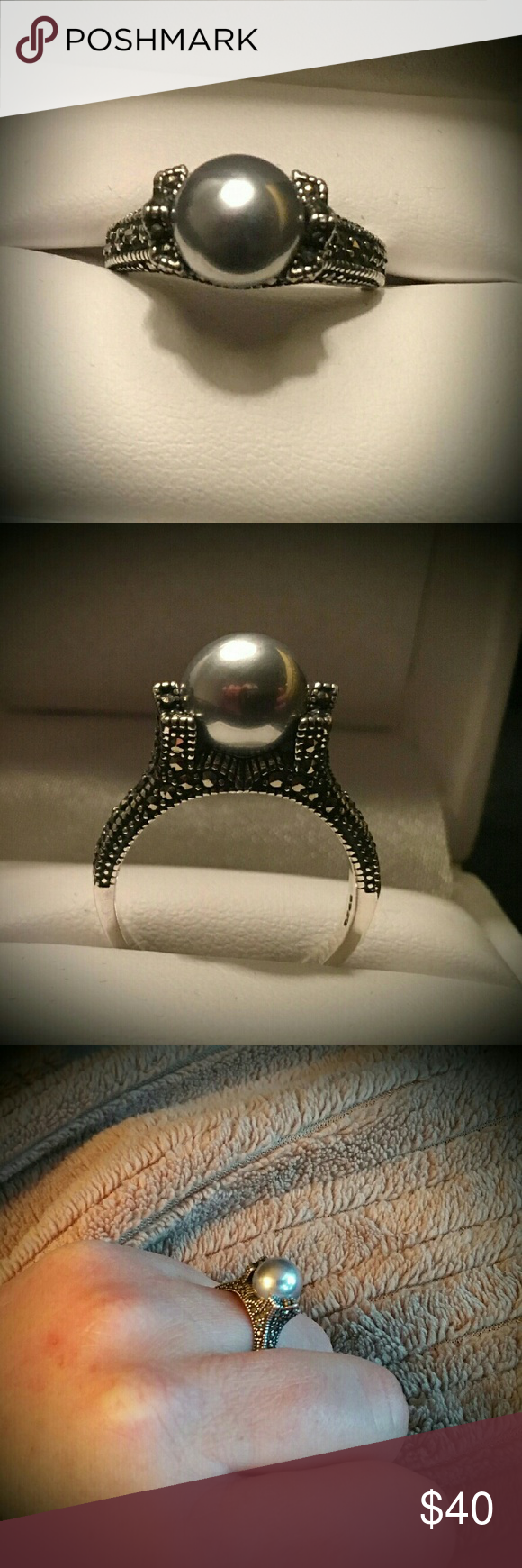952 Sterling Silver w/Genuine Marcasite This Beautiful Sterling Silver w/Genuine Marcasite & Grey Shell Pearl. This Ring is Absolutely Beautiful fit for any occasion. I luv this Ring, It can be worn with a Gown or Jeans. It's Original by far. I have in Red as well. Jewelry Rings