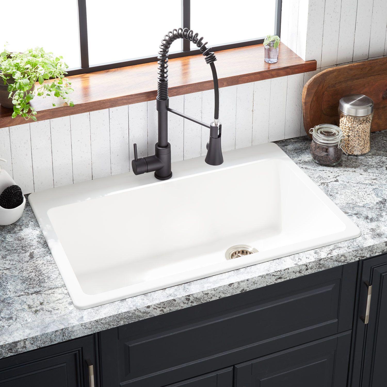 33 Totten Granite Composite Drop In Kitchen Sink In White