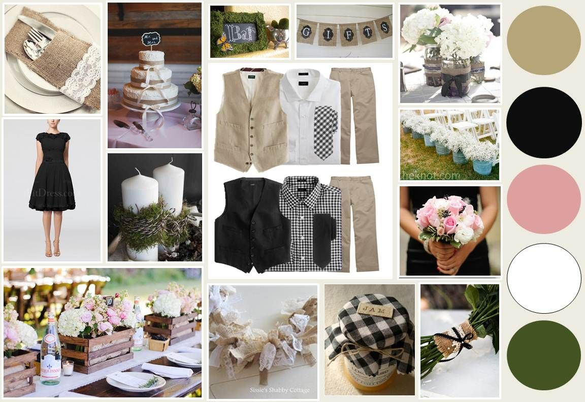 My inspiration board and wedding colors  Burlap tan, black