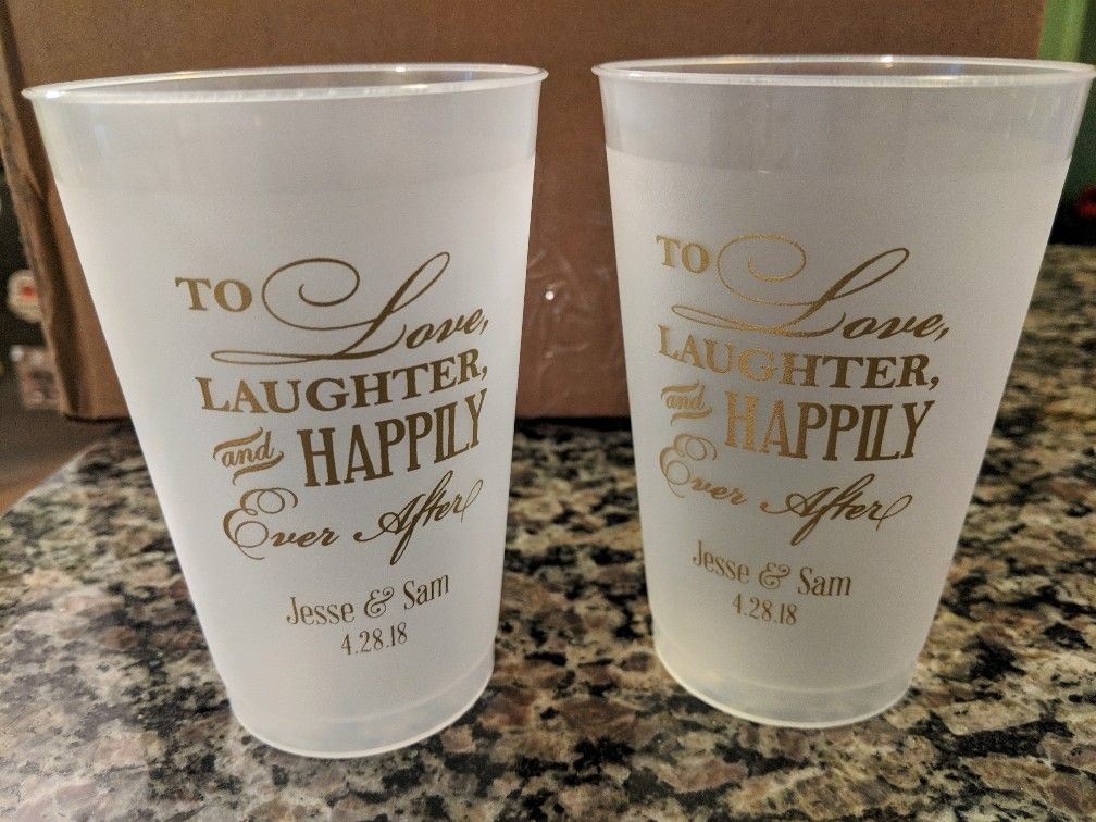 14 Oz Personalized Frosted Plastic Wedding Cups Wedding Plastic Cups Wedding Cups Personalized Plastic Cups Wedding