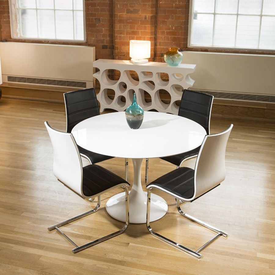 Tulip Style Round Dining Table White Gloss + 4 Black