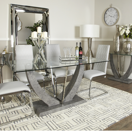 The Lisbon Dining Table Has Show Stopper Looks However It Won T Dominate Your Space The Glass Dining Room Table Glass Dining Table Decor Dining Room Table Set