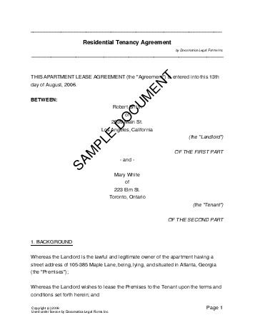 Printable Sample Rental Lease Agreement Template Form Real Estate