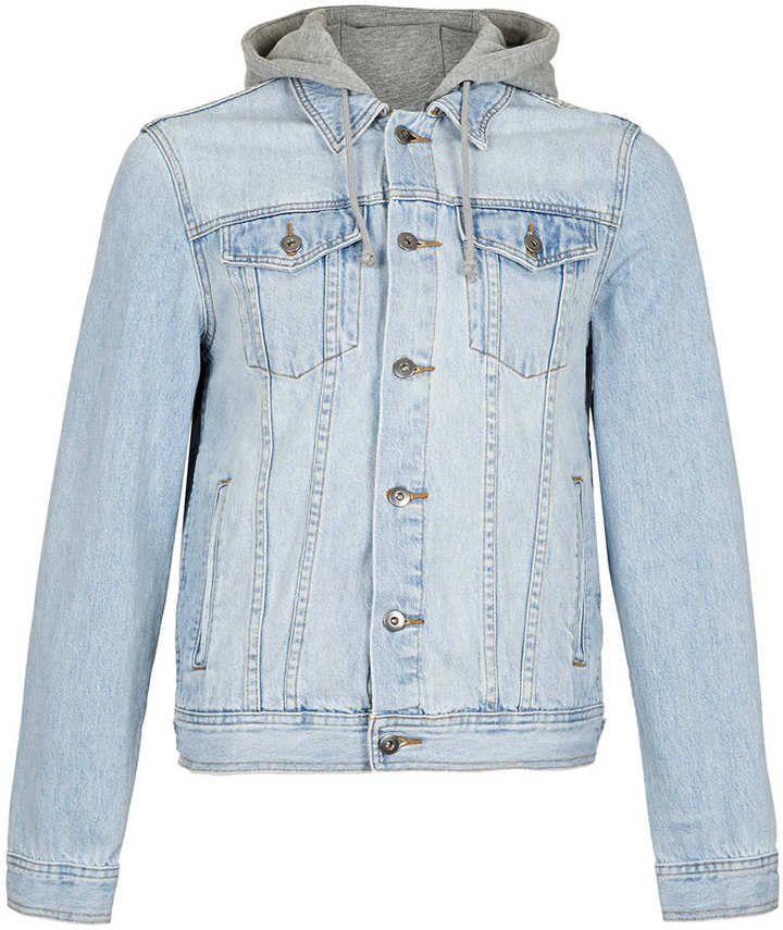 Light Wash Hooded Denim Jacket | Shops, Jackets and Lights