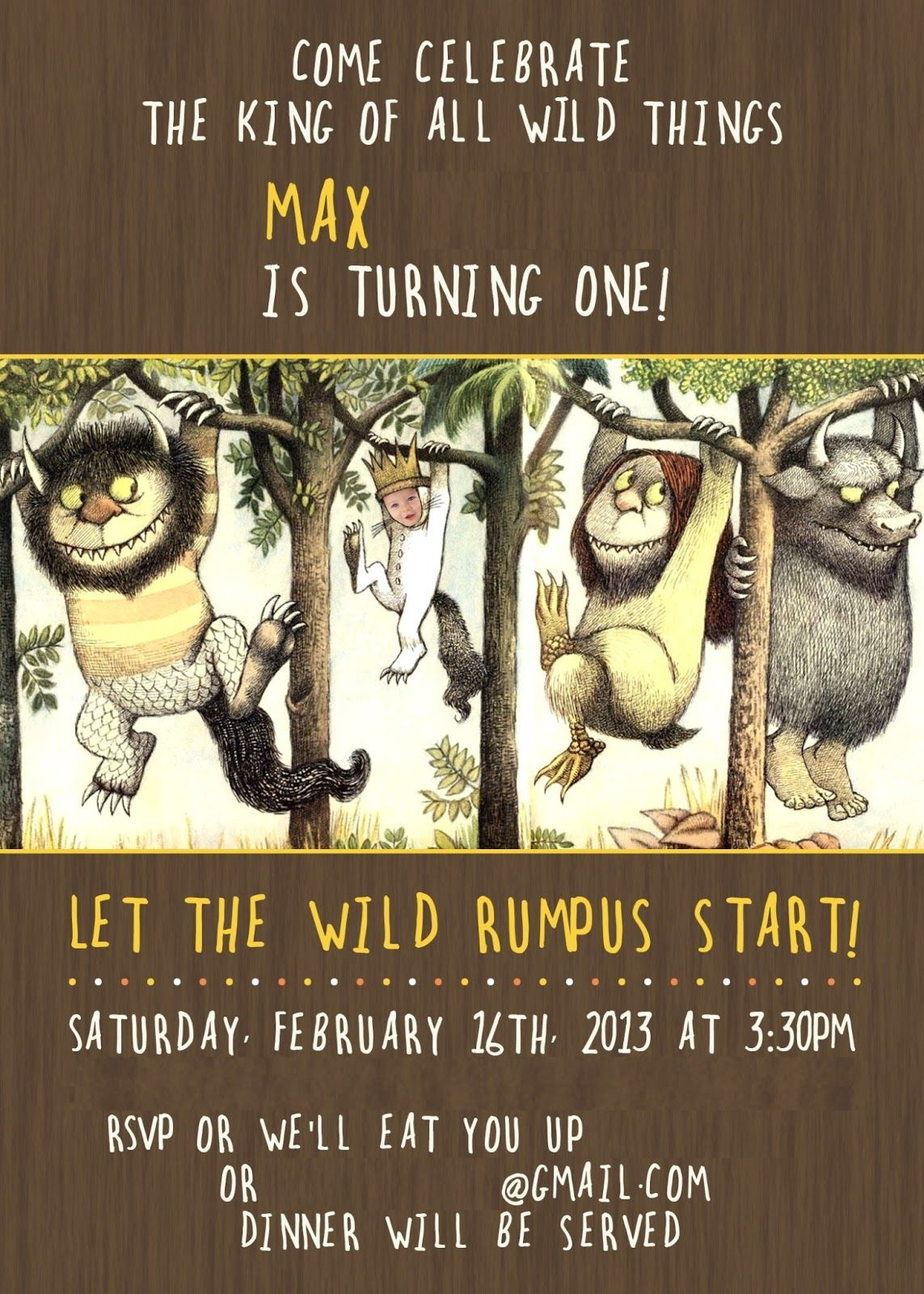 David Jen Max S Where The Wild Things Are 1st Birthday Invitation