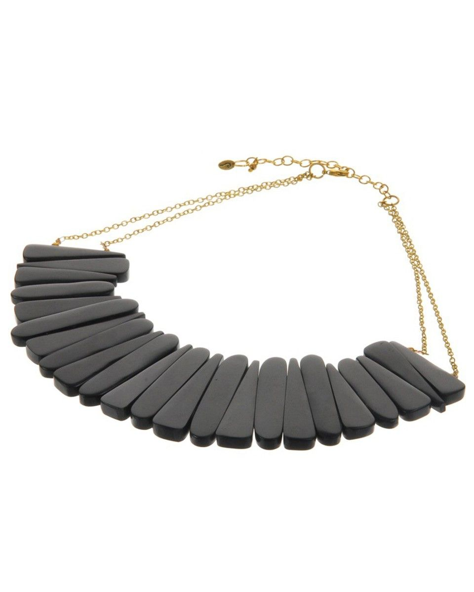 MANUMIT  FAIR TRADE BLACK TAPERING COLLAR NECKLACE