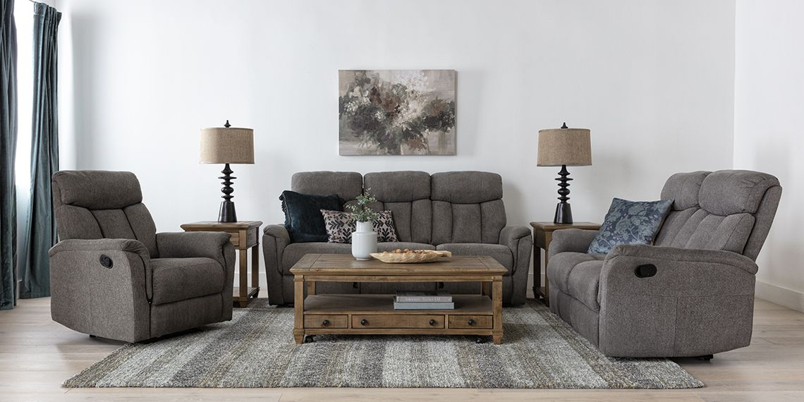Transitional Living Room With Suzy Dark Grey Reclining Sofa Living Spaces In 2021 Grey Reclining Sofa Living Room Recliner Transitional Living Rooms