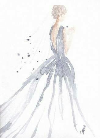 Dreamy Flowing Gorgeous Fashion Illustration Watercolor