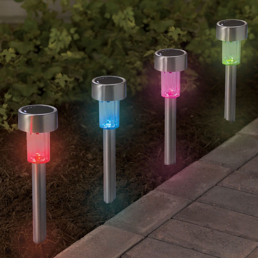The Color Changing Solar Walkway Lights - Hammacher Schlemmer