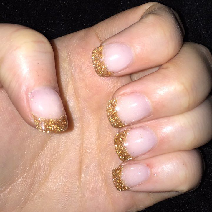 Bold color dip French manicure with \