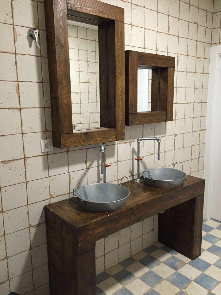 Mueble de ba o r stico ba o industrial lavabo industrial grifo industrial de tuber as mueble - Mobiliario vintage industrial ...